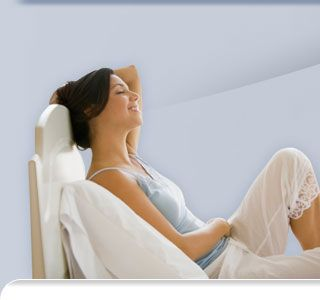 Woman relaxing breathing clean air